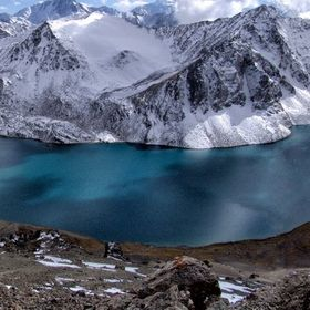 Alakyol lake, which is situated in Tien-Shan mountains, on the altitude of 3500m. Kyrgyzstan