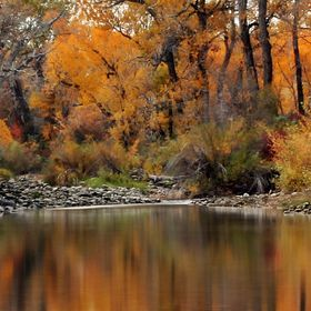 small pool beside the Boulder River in the Autumn at Big Rock Access in SweetGrass county MT