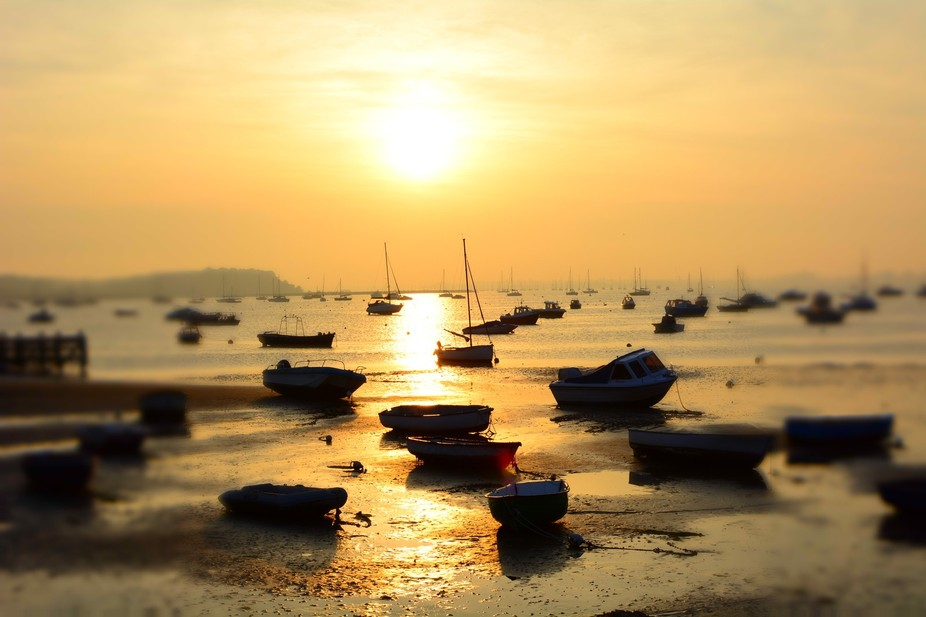 A beautiful sunset viewed from Sandbanks in Poole.