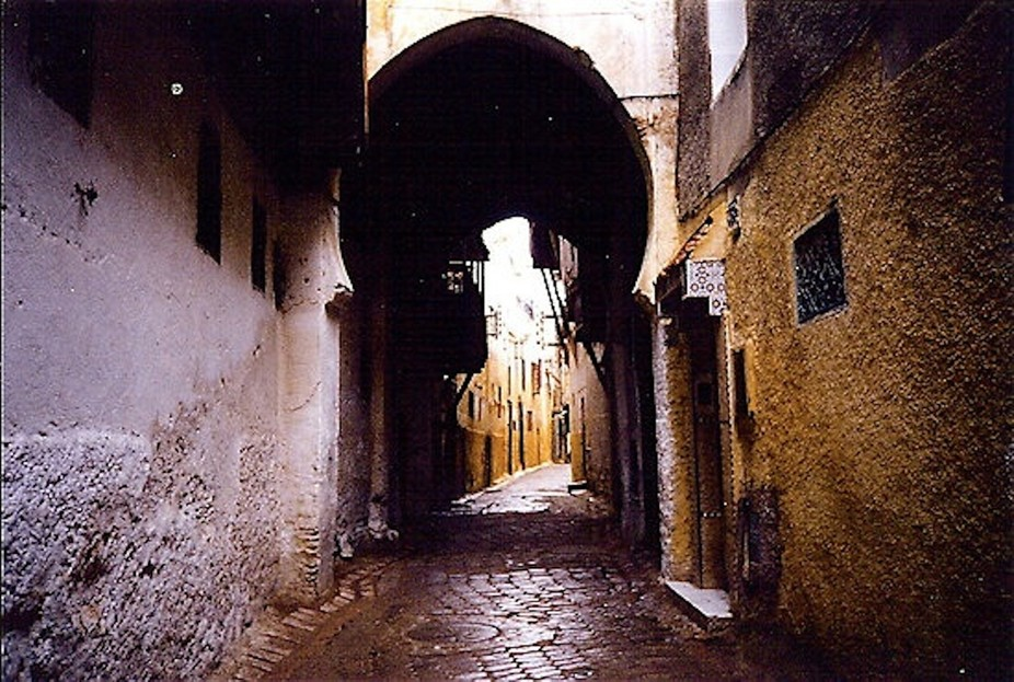 Dark alley in the souk, Fez, Morocco