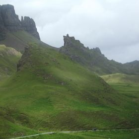The Quiraing on the Trotternish Ridge on the Isle of Skye in the Scottish Highlands.