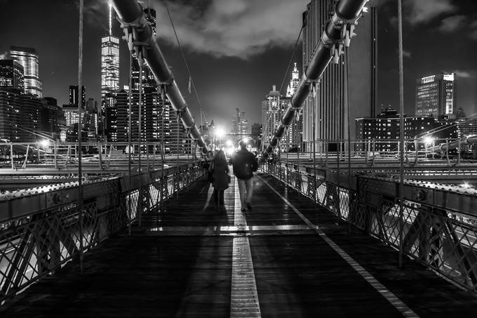 The light at the end of the...Brooklyn Bridge by amona27 - Awesomeness In Black And White Photo Contest