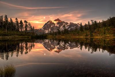 Sunset at Picture Lake, WA