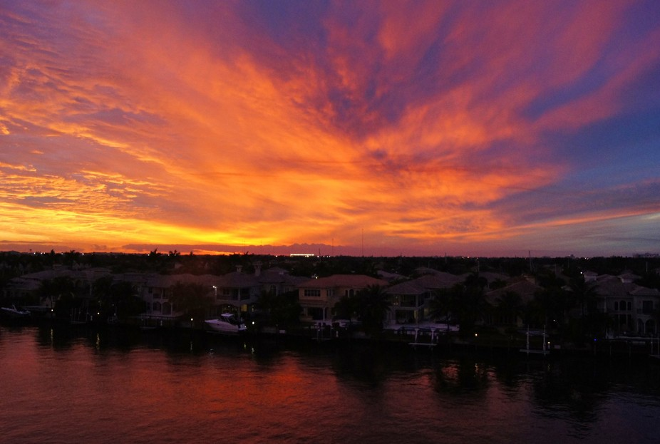 Magic sunset over Hollywood, Florida, watched from my balcony at the Intracoastal Waterway in Hol...
