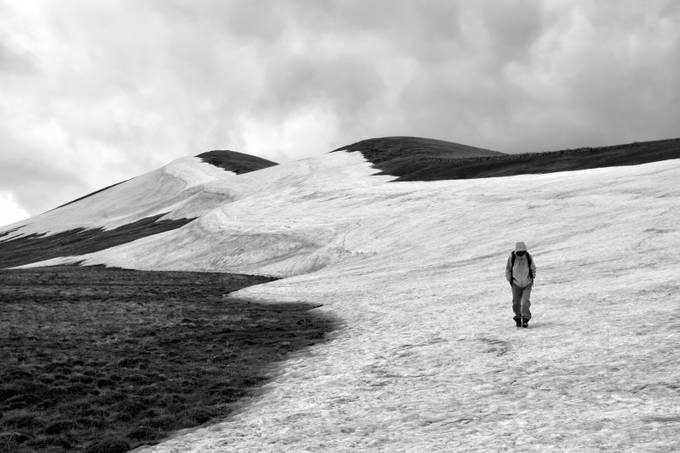 The lonely hiker in the mountains by hrachess - Black And White Landscapes Photo Contest