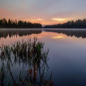 Daybreak over River Nissan in Sweden