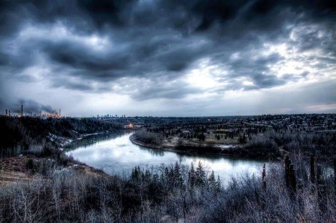 A Gloomy River by PhotoJunkiesAB - 500 Stormy Clouds Photo Contest