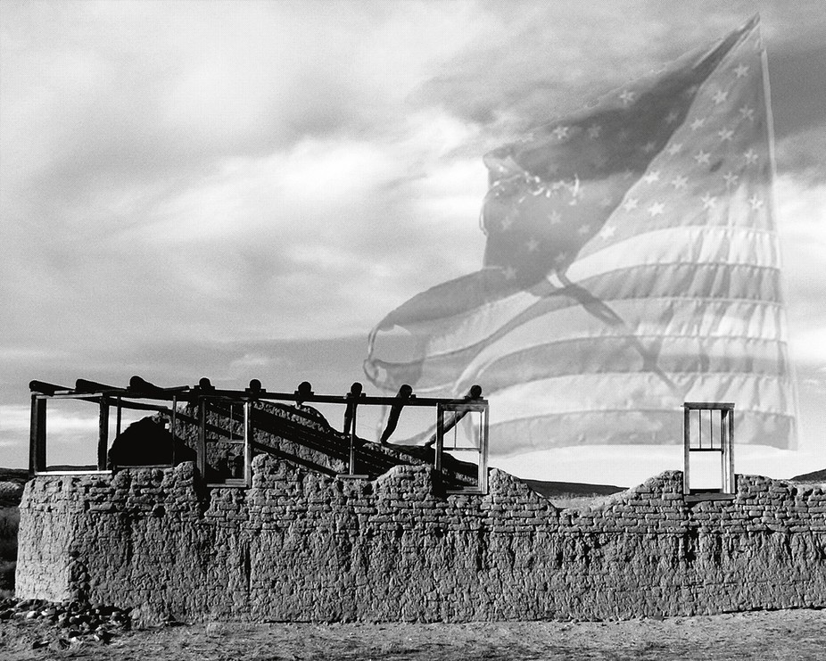 Abiquiu Ruins with Well-Used American Flag