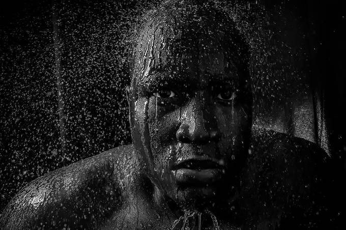 Sprinkling by ricardowilliams - Selfies In Black and White Photo Contest