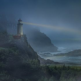 This Lighthouse doesn't actually exist at this location; it is a combination of 2 photo's taken in Washington State. The locations are very close...