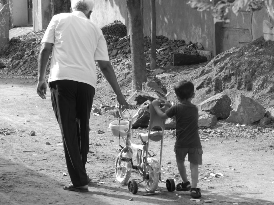 With Grandpa.