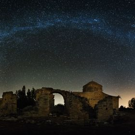 The milky way over ancient Byzantine church cyprus