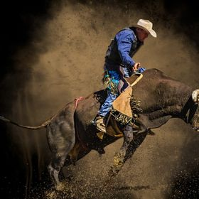 Dayboro Rodeo and is a tribute to the old school Bull rider dressed in denim, the classic battle of wills between man and beast - titled Blue
