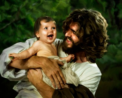 Jesus & baby in landscape