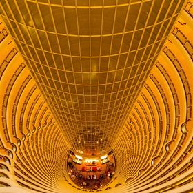 The interior of the Grand Hyatt Shanghai Hotel inside the Jin Mao Tower, Shanghai, China