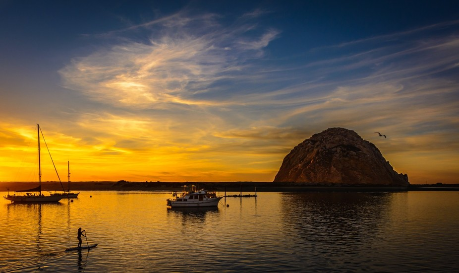 View of Morro Bay during sunset