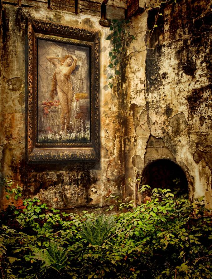 A derelict hotel where nature creeps back.