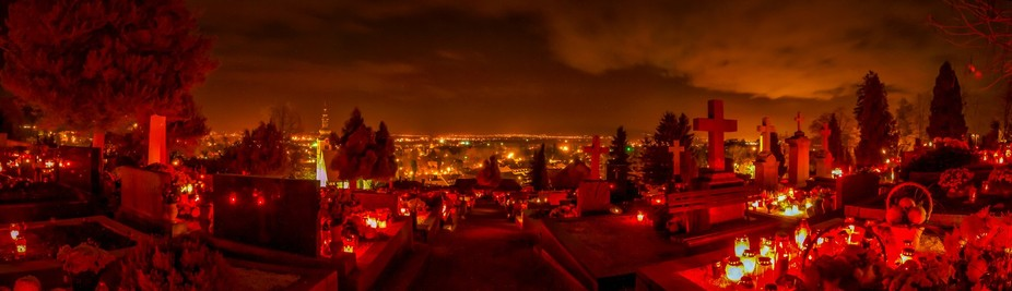 Panoramic view into the alluring distance lit up by bright lanterns and city lights. Photo taken ...