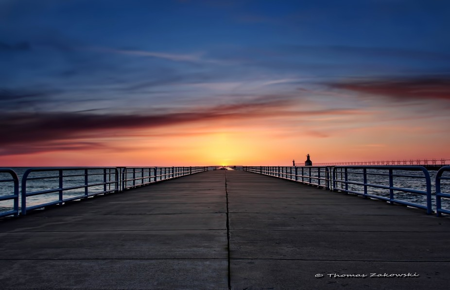 There is only one time of the year when the sun aligns with the end of the pier when setting and ...