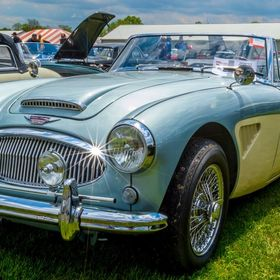 An antique Austin Healey at the Carlisle Import & Kit Car show in May of 2014.