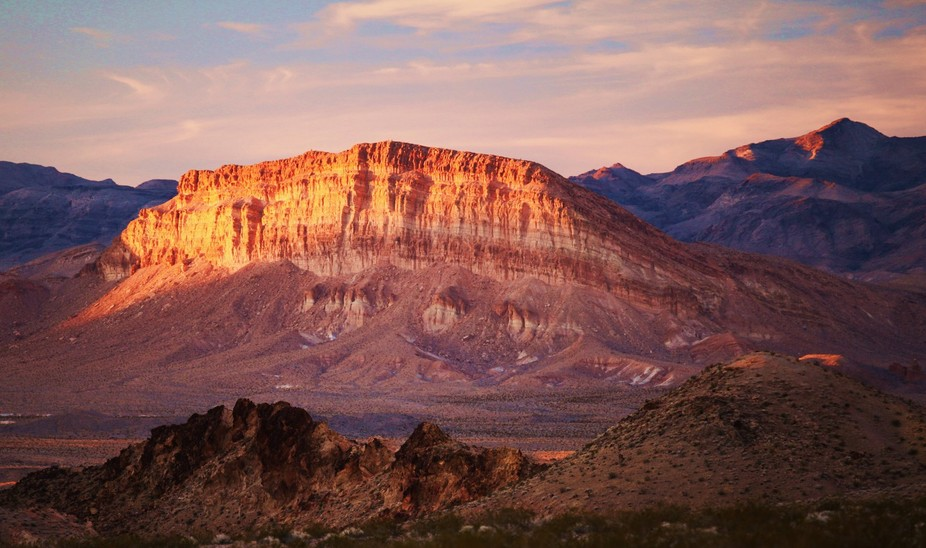 Mountain near Lake Mead, Nevada in the evening light.