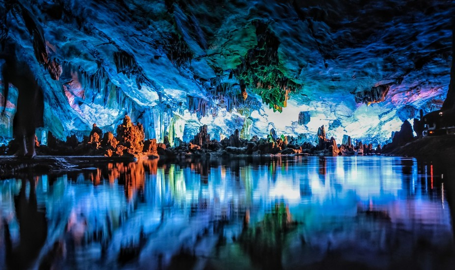"""Reed Flute Cave known as """"the Palace of Natural Arts """" is located in the northwest of Guil..."""