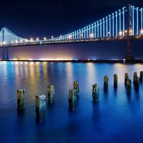 The San Francisco Bay Bridge at night