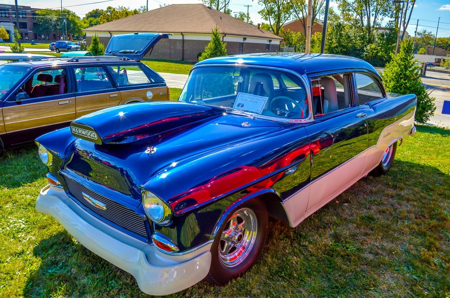 This is a 1955 Chevy Belair at the G3C Church car show  in 2013.