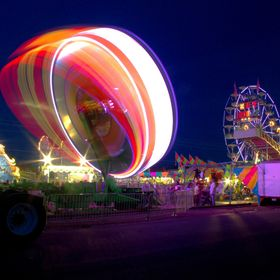Light painting created by an amusement ride.