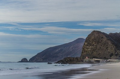 Pacific coastline with Mugu Rock in the distances.