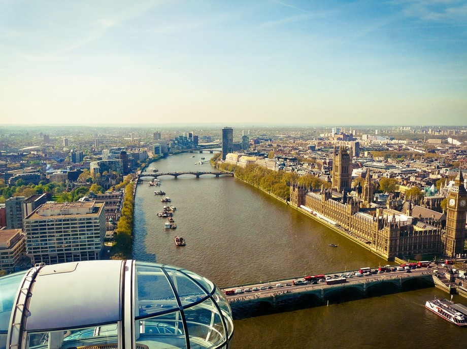 Sky view of Westminster and central London along the Thames, featuring Big Ben and Parliament, ta...