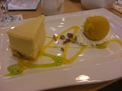 Cheesecake and sorbet