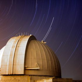"Star trails at Mount Stromlo Observatory. This is a 2 hour exposure, using the ""dark frame/long exposure noise reduction"" method in cam..."