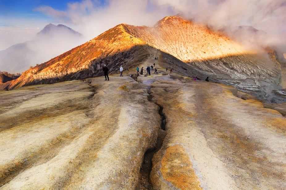 visiting te peak of Mount Ijen at East Java, Indonesia.
