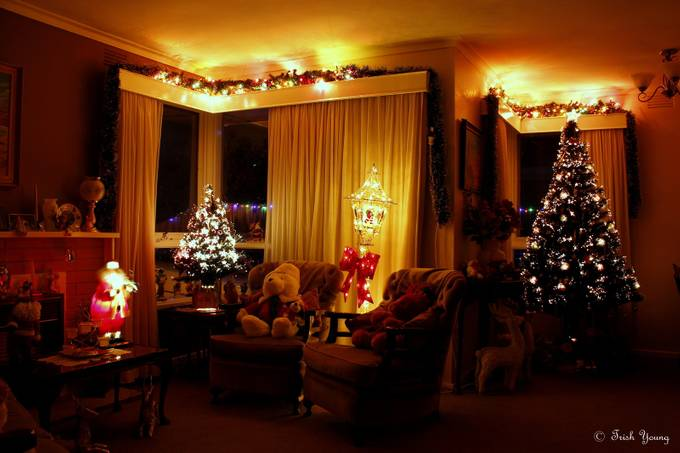 My Lounge/Dining room with our Christmas Lights ... by leckie45 - Holiday Lights Photo Contest 2017