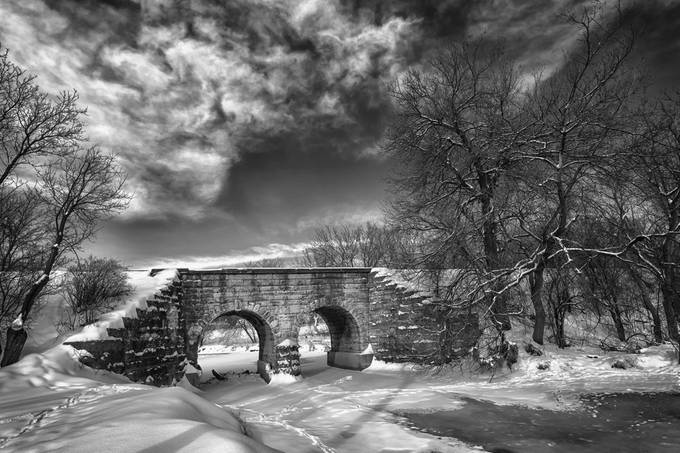 Winter Bridge by laurinovakphoto - Awesomeness In Black And White Photo Contest