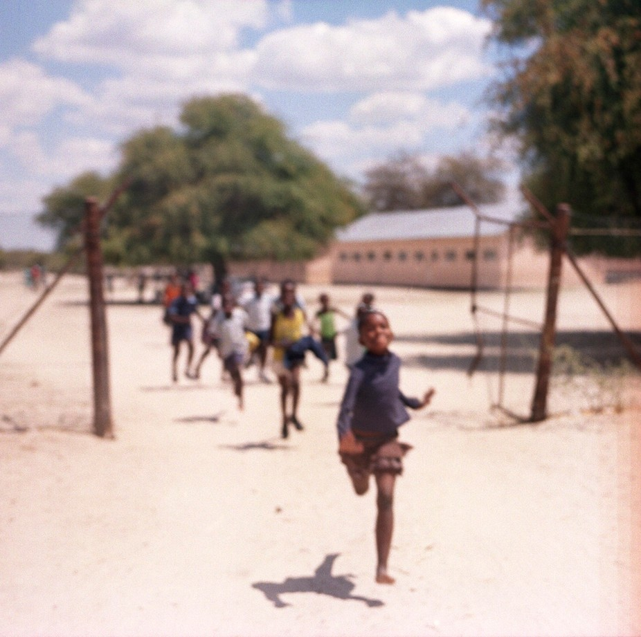 Driving away from a small village in Botswana!