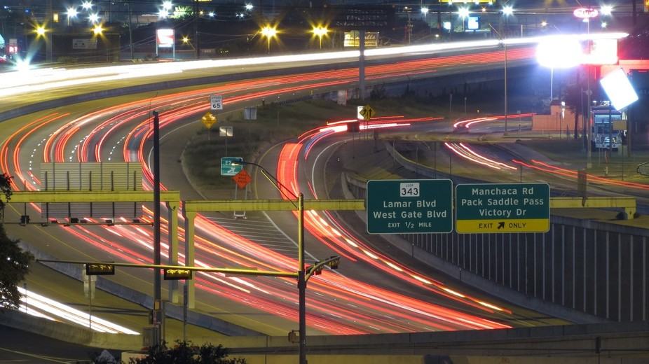 time lapse of the highway