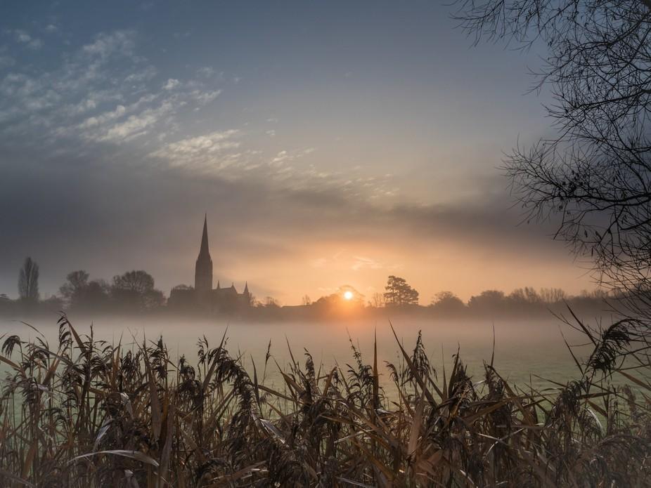Harnham water meadow to Salisbury Cathedral Wiltshire England