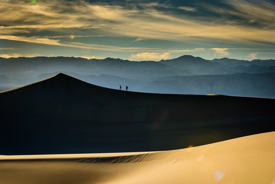 Walking the ridgeline at the Mesquite Dunes in Death Valley National Park