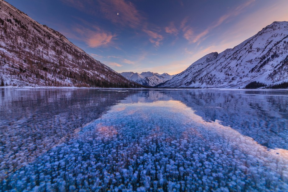 Sunset on the lake Multa. Altai Mountains, Siberia