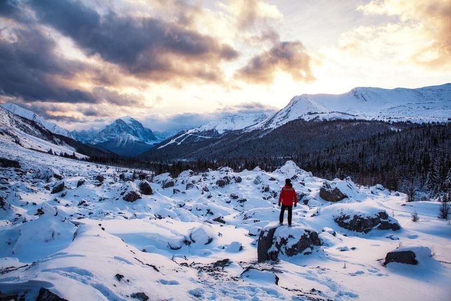 Snow hike in Banff, Canada.