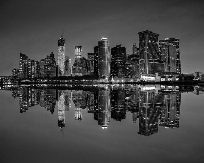 Black and White Manhattan NYC Skyline by ginag0108 - Awesomeness In Black And White Photo Contest