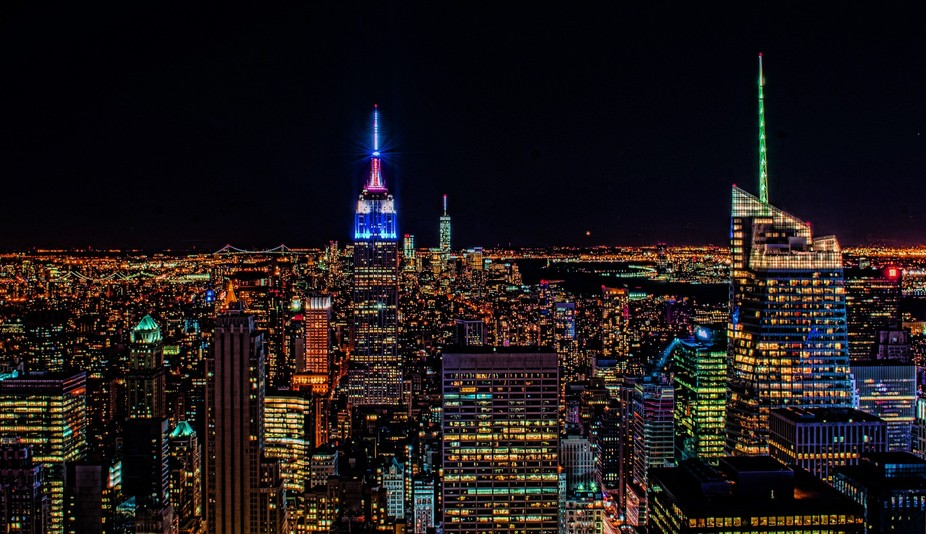 View of Lower Manhattan and Empire state building from Top of the Rock.