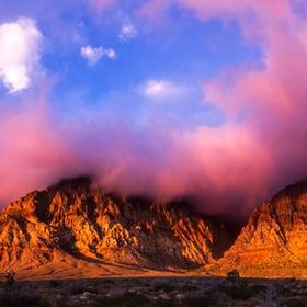 Three images stitched in Photoshop to make this panorama of Red Rock Canyon during a cloudy morning