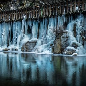 In 2013 we had a month of constant sub-freezing temps.  This old wooden flume runs along the Truckee River, which flows out of Lake Tahoe.  It le...