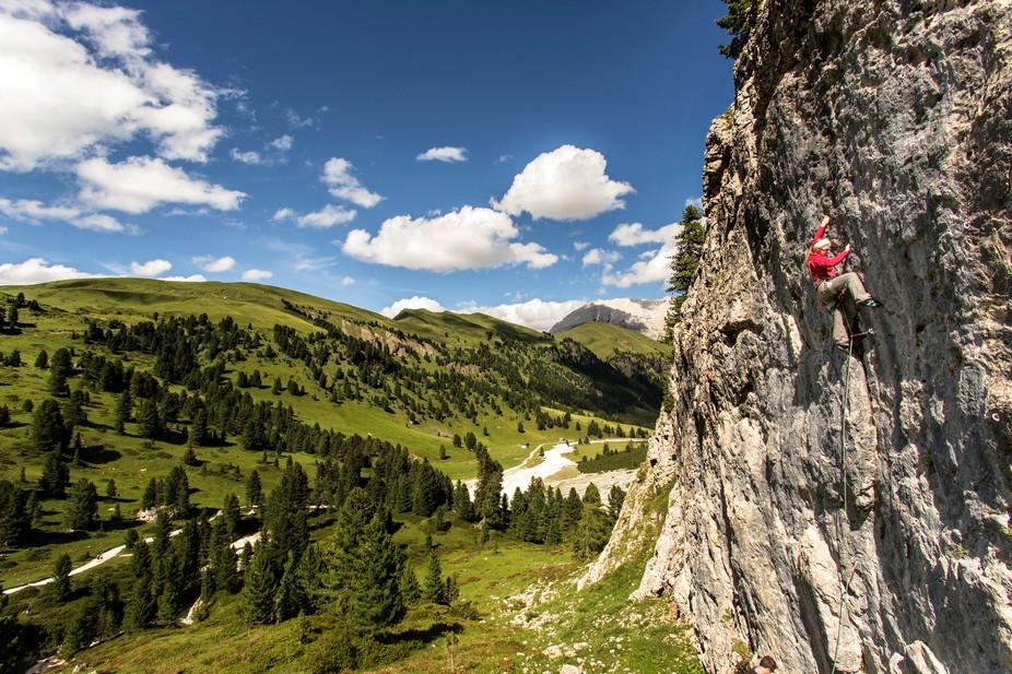 Val Duron, Italian Dolomites.   Climber: Lynne Hempton