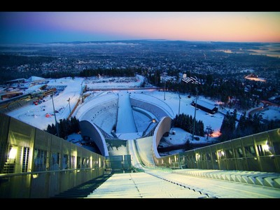 View from the top of the famous Holmenkollen ski jump