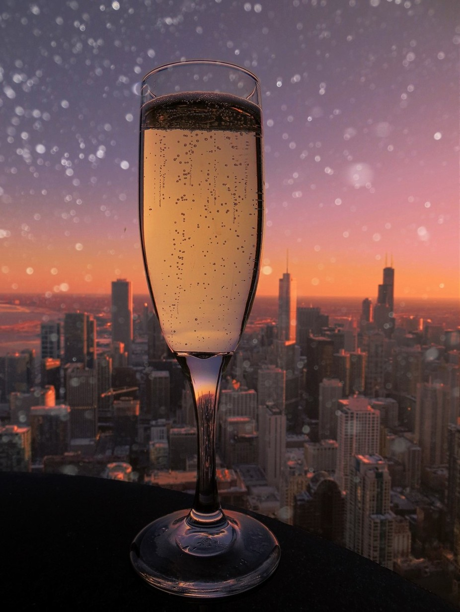 Toast to the flurries in the city by tricianicolescott - City Sunsets Photo Contest
