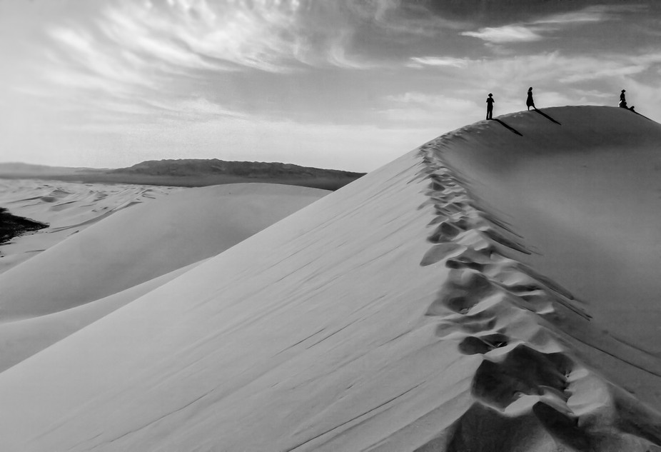 The top of a huge sand dune in the Gobi Desert. Mongolia. Known as the Singing Sands as a result ...